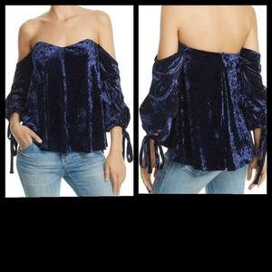 Do+Be Off Shoulder Blue Velvet Blouse XS, S, M, L